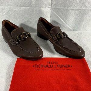 "Donald J Pliner ""LINO I20"" Brown Leather Loafers"